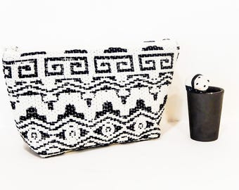 Black and White Make Up  Bag - Mothers Day Gift - Boho Zipper Pouch - Boho Cosmetic Bag - Boho MakeUp Bag - Grad Gift - Fabric  Pouch - Case