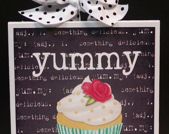 Definition of Yummy Adorable Wood Cupcake Plaque Sign