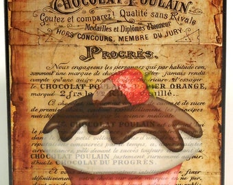 Kitchen Bakery French Cupcake Wood Block Shelf Sitter Wall Plaque