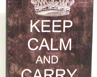 Keep Calm and Carry On Decorative Wood Block Shelf Sitter SIgn