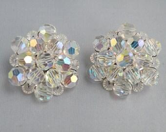 SALE Were 9.75 Now 8.00  Aurora Borealis Earrings Vintage 1970's
