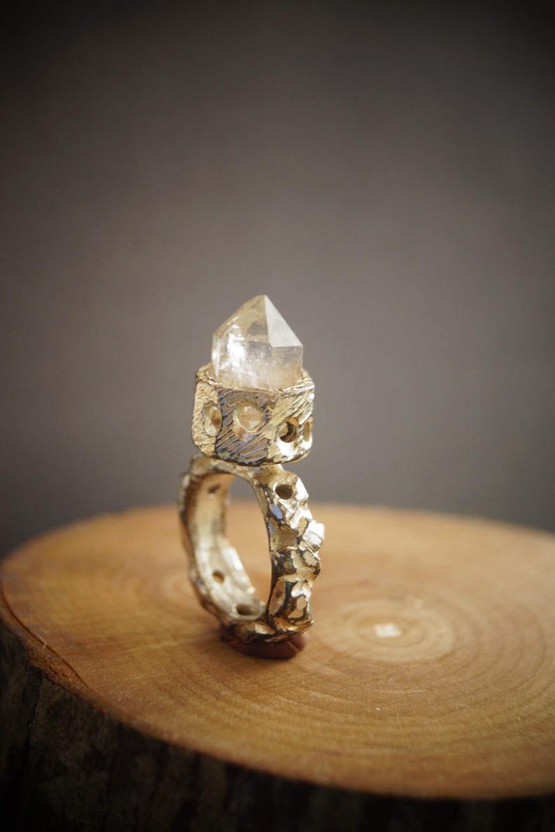 Power Crystal Silver Power Atlantis  Protection  Ring Bronze .Rock crystal Ring