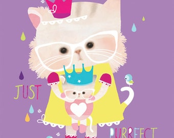Nursery art, children's room, purple bright cat art, fairy tales 'Puss in Puddles' by Schmooks