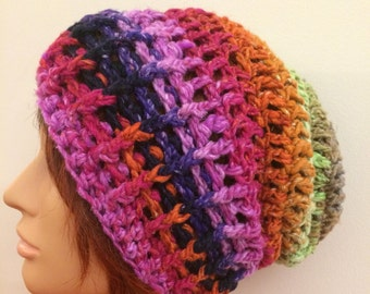 Organic Multicolour Crocheted Slouch Hat 24/16