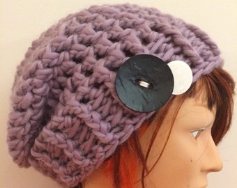 Mauve Crocheted Slouch Hat 43/16