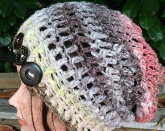 Multicolor Crocheted Slouch Hat 23/17