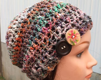Multicolor Crocheted Slouch Hat 8/17