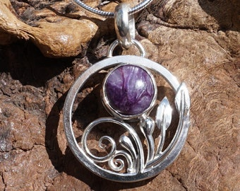 Charoite Necklace ~ One of a Kind Handcrafted Sterling Silver and Charoite Pendant ~ Includes 18 inch Sterling Silver Snake Chain