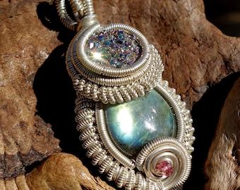 Titanium Druzy and Labradorite Wire Wrapped Pendant ~ Sterling Silver, Handmade, Druzy Quartz