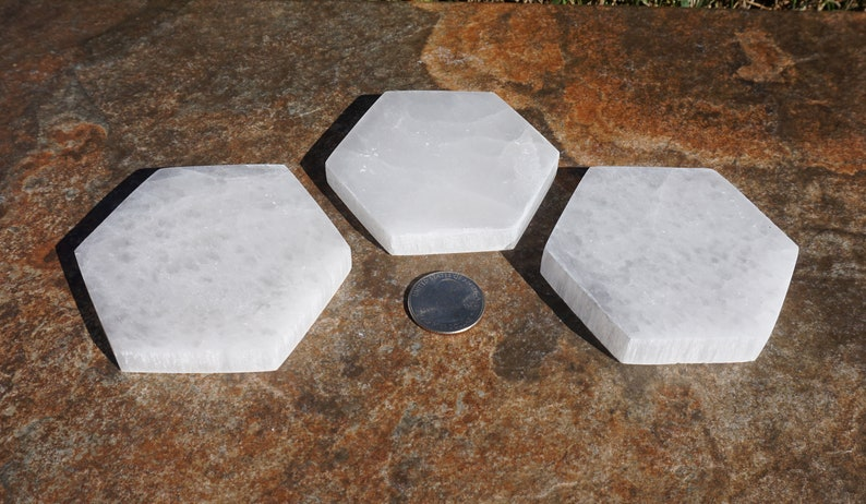 Selenite #4 ~ ONE Polished Selenite Hexagon Charging Plate ~ Metaphysical Healing Stone ~ 3 x 3.25 x 12 ~ 4.5 Ounce ~ Crystal Gridding