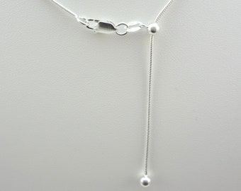 24 inch Adjustable Length Magic Ball Sterling Silver 1.3 mm Snake Chain ~ Adjustable Chain, Silver Chain, Long Chain