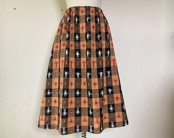 Celeste cotton skirt- tan/ black ikat