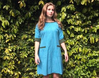 Ingrid tie-back dress- turquoise - XS