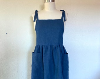Sz L Opal linen pinafore- navy blue