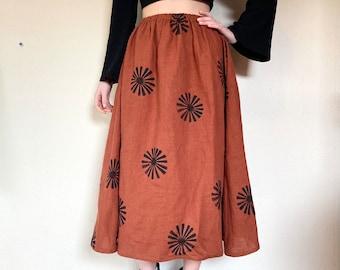 Celeste linen skirt-  Rust Sunburst