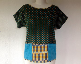 SALE Mia cotton top with pockets- Gray- Medium