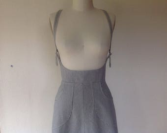 Made to order- Railroad striped denim suspender skirt