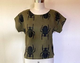 Beetle block print tee- Olive