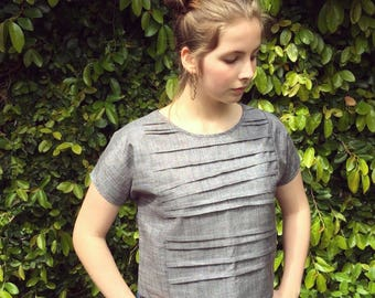 Silver pleated top- XS/S/M