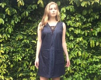 SALE Janis Denim dress with lace up detail- XS
