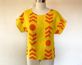 Chevron print tee-sunshine yellow