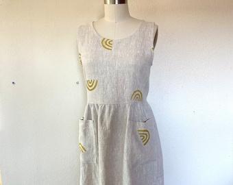 SALE Sz S Penny dress- natural linen