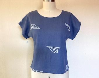 SALE Sz XS Paper Airplane print tee- blue