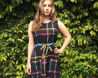 SALE Judith Cotton sun dress- black plaid- Large
