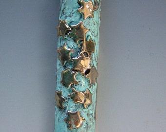 Jewish Star of David Mezuzah, Bronze with Green Patina