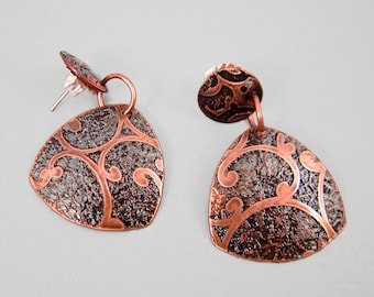 Earrings, Handmade Etched Copper with Sterling Posts