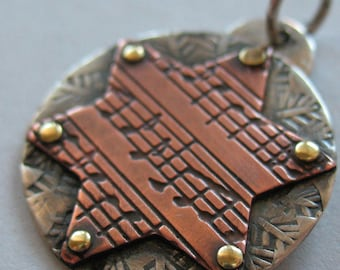 Musical Star of David Pendant with Copper and Sterling Silver