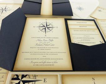 Vintage Compass Wedding Invitation, Navy Blue Nautical Blue Pocketfold Wedding Invitations, Beach Wedding Invites, Boat Wedding Yacht