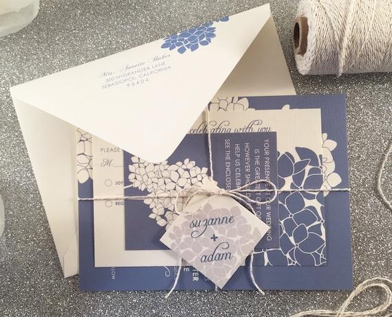 Hydrangea Wedding Invitation Suite Floral Wedding Invites Etsy