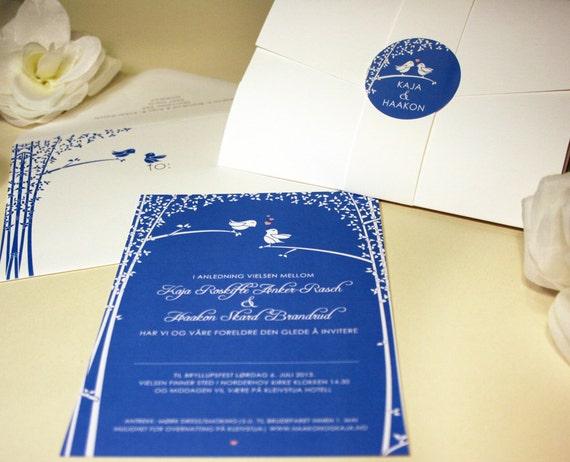 White And Green Wedding Invitations: Love Birds Wedding Invitation Blue White Green Black