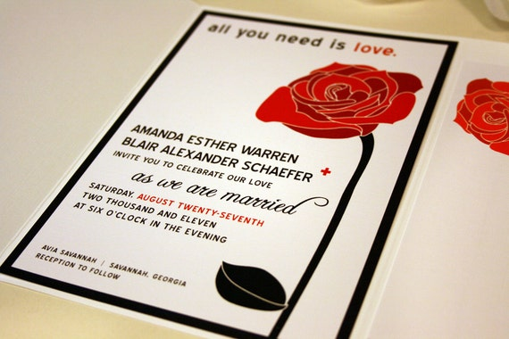 All You Need Is Love Wedding Invitations: All You Need Is Love Red Rose Wedding Invitations Black