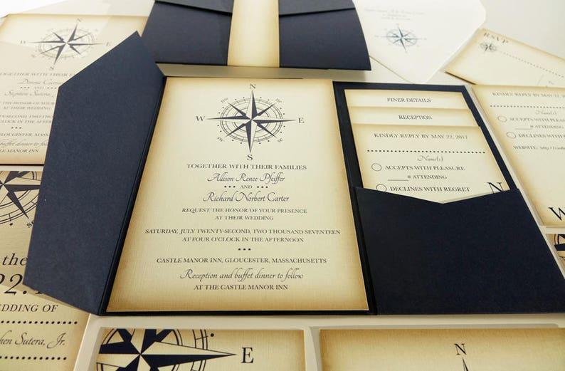 Vintage Compass Wedding Invitation Navy Blue Nautical Blue Pocketfold Wedding Invitations Beach Wedding Invites Boat Wedding Yacht