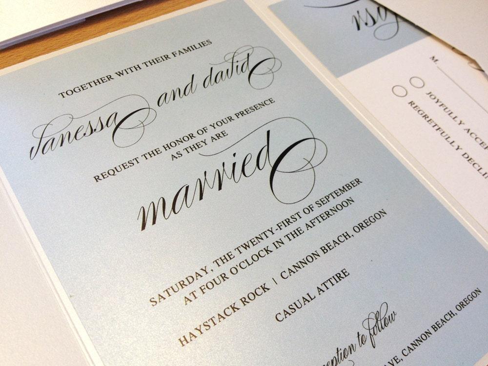 Fancy Wedding Invitations: Sample Elegant Script Wedding Invitation Blue Invitation