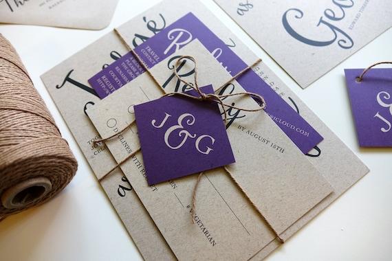 Rustic Wedding Invitation Set Purple Wedding Invite Kraft Etsy