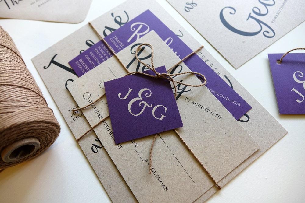 Purple Rustic Wedding Invitations: Rustic Wedding Invitation Set Purple Wedding Invite Kraft