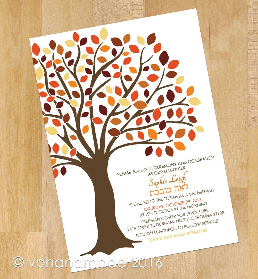 Tree Of Life Invitation Rsvp Celtic Life By: Fall Tree Of Life Bat Mitzvah Invitations RSVP Party Card
