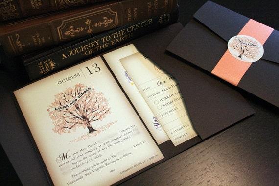SAMPLE Fall Vintage Book Wedding Invitation Pocketfold | Etsy