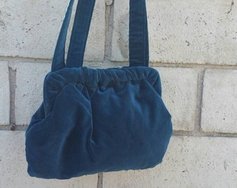 Small Teal Velvet Shoulder Bag by KNAPP SACK