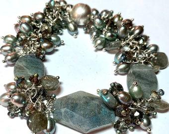 "Labradorite, Silver and Iridescent Baroque Pearl Bracelet, magnetic clasp, 7.25"". Throat Chakra. Shop Closing Sale. Labradorescence flash"