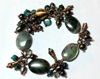 "Healing Bracelet,Laboradorite,Apatite,Pearls with Brass filigree 7.5"" Bracelet, magnetic clasp. Restore emotional balance.Shop closing salel"