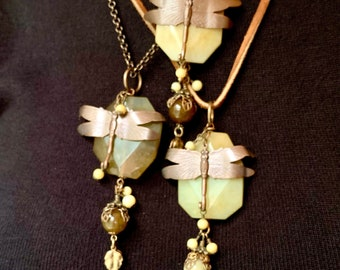 Flower Jade gemstone and Dragonfly pendant/necklace.  Healing Stone  nature inspired necklace. Shop Closing Sale.