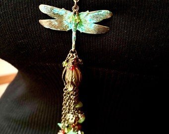 """Faery Festival Pendant Tassel.Fairies, bees, birds, butterflies, leaves and berries suspended by a damsel dragonfly in a glorious 7"""" tassel"""