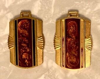 2 antique enamel Art Deco solid goldtone brass pendant ornaments. Art Deco designs. 34X23mm. one squared ring. Shop Closing sale