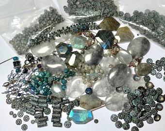 15 OZ of Labradorite, apatite, spacers, bead caps, metal beads in matching patina. Shop Closing sale.Lot 110 Labradorite pendant focals. DIY