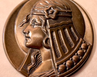 45mm Egyptian Revival medallion/coin (no hole).Jewelry pendant.Age enhanced patina. Profile Pharaoh Vintage style stamping. closing sale