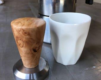 handturned hardwood espresso tamper/esptesso lovers/espresso tools/coffee tools/modern kitchen tools/walnut/cherry/pear/maple burl/ambrosia